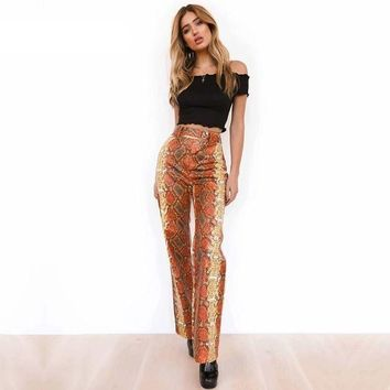 Snake Print High Waisted Straight Trousers