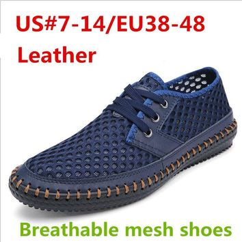 #14 Loafers Leather Man Summer Breathable Mesh Shoes Flat Casual Beach