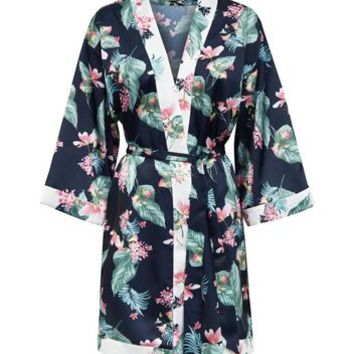 Soraya Blue Floral Leaf Print Satin Robe | New Look