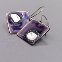Artisan earrings - purple enamel and sterling silver - handmade OOAK jewelry - modern jewelry by Alery