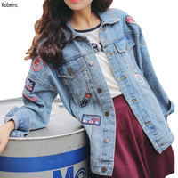 Harajuku BF Wind Oversized Denim Jacket Women 2016 New Autumn Patch Badge Jean Jacket Loose Long Sleeve Coat Female Jackets Tide