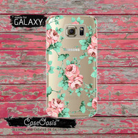 Vintage Peonies Floral Pattern Wallpaper Style Roses Tumblr Inspired Clear Galaxy S6 Case and Clear Galaxy S6 Edge Case Custom Samsung Case