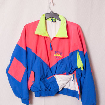 Neon USA Windbreaker, Neon Green Windbreaker, Neon Pink USA Windbreaker, Size Large 80s Windbreaker,  USA Ski Jacket