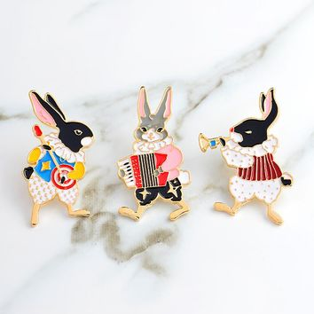 Musician rabbit pins banjo accordion trumpet rabbit brooches Vintage bunny jewelry Denim Jean Jacket Backpack Hat Bag Accessorie