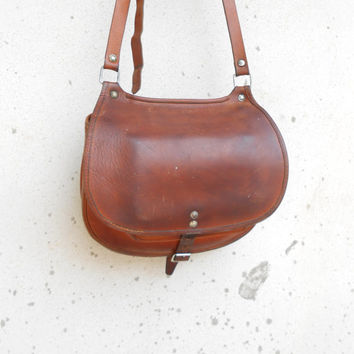 Vintage Distressed Brown Leather Crossbody Bag , Purse , Boho Bag , Hippie Bag / Medium / Handmade