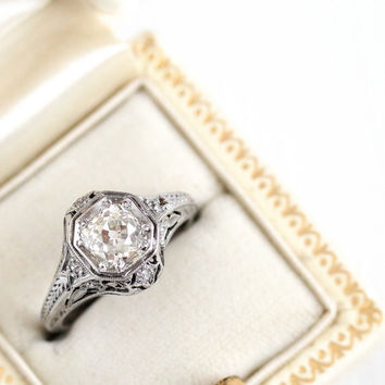 Antique 1.02 CTW Old Mine Cut Diamond Filigree Platinum Engagement Ring - Size 5 Engraved 1920s Art Deco Wedding Fine Jewelry with Appraisal
