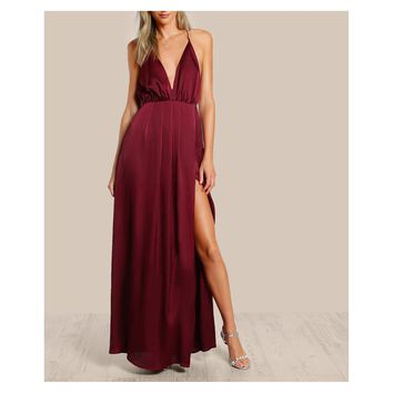 Burgundy Red Satin Plunge Backless Slit Maxi Dress