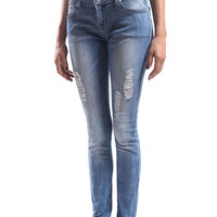 LE3NO Womens Premium Vintage Washed DIstressed Skinny Denim Jean Pants (CLEARANCE)