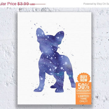 French Bulldog Print Watercolor Printable French Bulldog Print Frenchie Poster Blue Print Watercolor Wall Art Digital Download Art