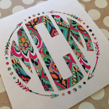 Lilly pulitzer aztec arrow circle decal monogrammed arrow fra