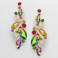 Crystal Drop Leaf & Vine Multi Color Earrings