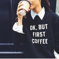 Casual Letters Long-Sleeved Printing Sweater