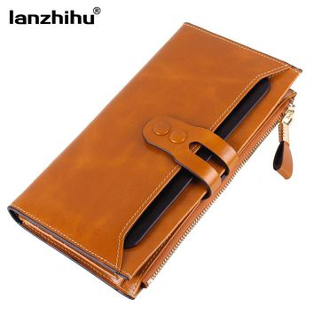 2016 New Women Genuine Leather Wallets High Quality Long Design Leather Purse Ladies Cowhide Card Case Phone Holder Clutch