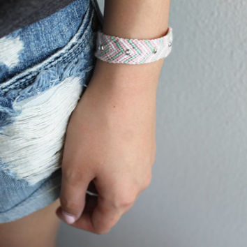 Pink and Mint Thin Stripe Chevron Friendship Bracelet with Silver Beads and Adjuster