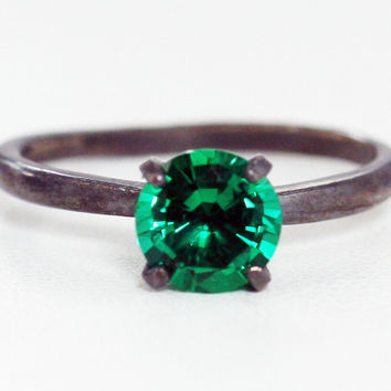 Oxidized Emerald Solitaire Ring Sterling Silver, May Birthstone Ring, Oxidized Sterling Ring, Emerald Solitaire Ring, 925 Ring