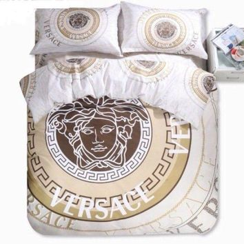 ONETOW Versace Bedding Set Cream Brown Gold Duvet Cover Sheet Pillowcases Queen size