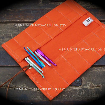 Extra Small Orange Canvas Tool Roll for Leatherworkers, Woodworkers, Roll for Leather Stamps, File Roll, Tap and Die, Brush Roll