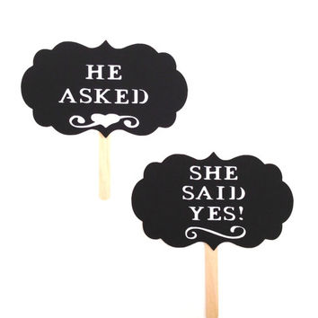 Photo Prop He Asked She Said Yes Photo Booth Props Set of 2 Signs Wedding Photo Props Wedding Day Props