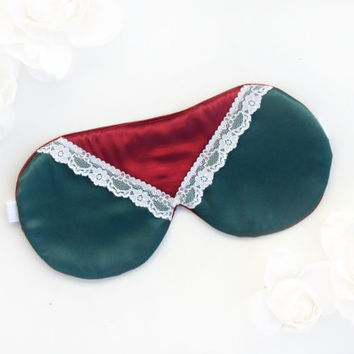 Green and Red Satin Mask, Lace Mask, Emerald Sleep Mask, Red Sleep Mask, Christmas gift for her, Christmas stocking stuffer