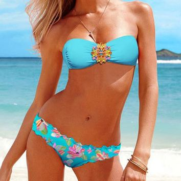 Bikini Set beach body 2018 New Sexy  Women Padded Bra Swimsuit Rhinestone Beachwear Bikini Swimwear Female swimming suits