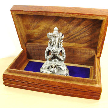 Vintage Indian Jewelry Box - Hand Carved Trinket & Keepsake Wooden Box