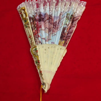Vintage Hawaiian Cloth and Lace Fan