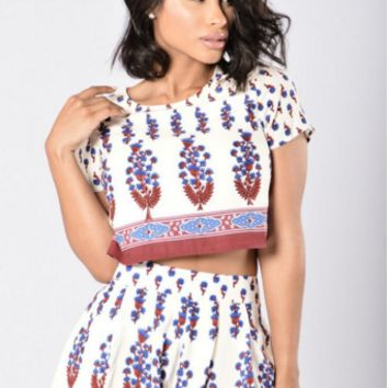 Print Top and Short Two Piece Set B0014250
