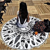 Mandala Black on White Tapestry, Beach, Yoga Mat, Home Decor