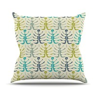 "KESS InHouse Julia Grifol ""My Leaves"" Teal Green Throw Pillow, 18 by 18-Inch"