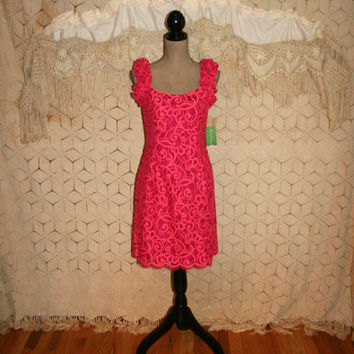 NWT Lilly Pulitzer Dress Hot Pink Lace Dress Spring Dress Sleeveless Midi Dress Pink Party Dress Mara Size 8 Dress Medium Womens Clothing