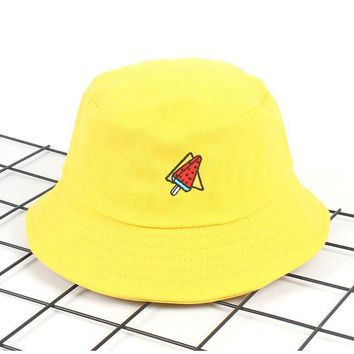 New Korea Watermelon Bucket Hat for men women Embroidery unisex fashion fishing hat Bob Cap panama hat for girls boys boonie hat
