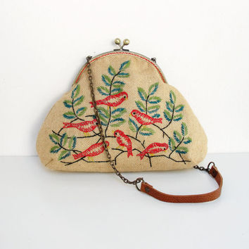Woodland Bird Bag Vintage Embroidery, Burlap, Kiss-lock