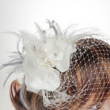 Birdcage Headdress, Wedding Fascinator, Bridal Fascinators,  Birdcage Veil Fascinator, Fashion Fascinators,