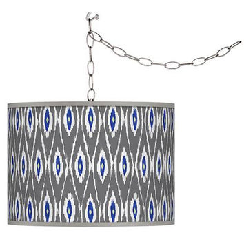 Swag Style Boho Ikat Shade Plug-In Pendant Chandelier