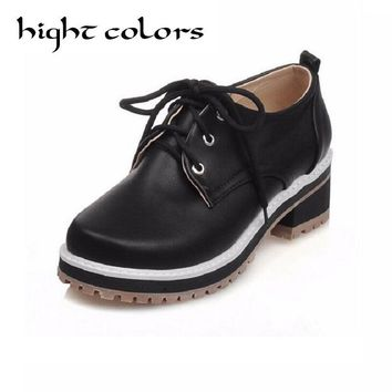 Fashion Vintage Oxford Leather Shoes For Women Autumn Spring PU Leather Lace Up Round Toe Paltform Shoes Zapatos Mujer Size 10.5