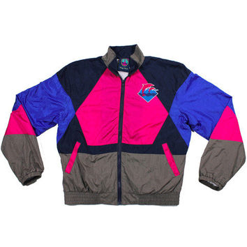 Pink+Dolphin — Retro Waves Windbreaker in Blue