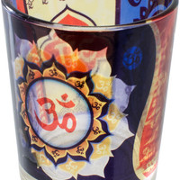 Om - Printed Glass - Votive Candle Holder