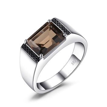 Men's Emerald cut 4ct natural smoky quartz black spinel Ring 925 sterling silver fine Jewelry