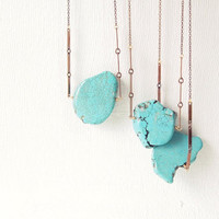 Turquoise Necklace : Raw Turquoise Magnesite Slab Statement Necklace