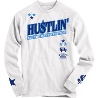 OutRank Apparel Hustlin' French Blue White Long Sleeve Tee