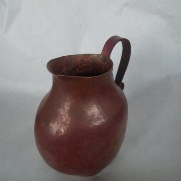Vintage Copper Pitcher 1980s Measures 7 Inches Tall