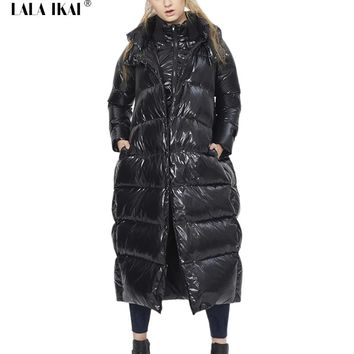 Women Thick Duck Down Jacket Coat Cocoon 2016 Spring Autumn High Quality Quilting Parka Leisure European Outwear Women SWJ0176-4