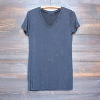 not so basic vintage acid wash v neck tshirt in navy