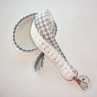 Lace Lanyard  ID Badge Holder - Lobster clasp and key ring - gray houndstooth, smokey gray, or faux burlap - two toned double sided