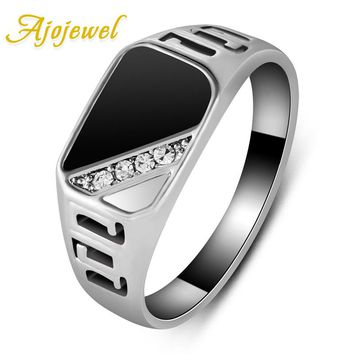 Ajojewel #7-12 Good Quality Man Jewelry Fashion Black Enamel Men Finger Ring With CZ