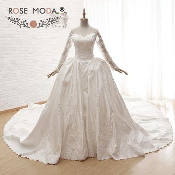 Rose Moda Luxury Long Sleeves Ball Gown Vintage Lace Muslim Wedding Dress with Royal Train Heart Shape Back