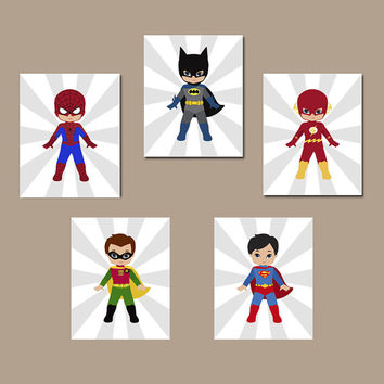 SUPERHERO Wall Art, INSTANT DOWNLOAD Superhero Wall Decor, Digital files, Set of 5 8x10 inch, Superhero Bedroom Wall Decor