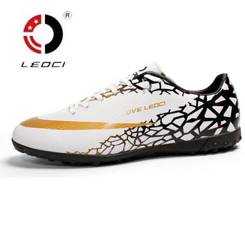 Leoci Size 33-44 Men Boy Kids Soccer Cleats Turf Football Soccer Shoes TF Hard Court Sneakers Trainers Football Boots 8593TF