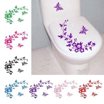 Fashion Paster Home Decor Livingroom Bedroom Waterproof Butterfly Flower Wall Stickers For Toilet Decorative Sticker