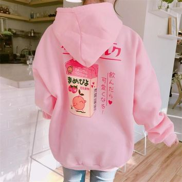 2017 Winter Korea New Top milk love printing girl kawaii behind cartoon loose and velvet thick Harajuku pink hooded Sweatshirt